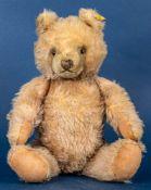 Alter STEIFF - TEDDY, gelblicher Mohairplüsch, wohl 1950er Jahre, Höhe ca. 40 c