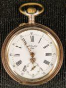 Offene Herrentaschenuhr um 1900/ 20, ungeprüftes Werk mit Handaufzug, läuft an.