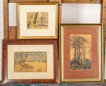 3teiliges Konvolut versch. kleinformatiger Aquarelle bzw. aquarellierter Zeichn