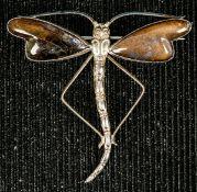 Extravagante Sterling-Silber-Brosche in Form eines Flügelinsekts, ca. 4,8 x 4,8