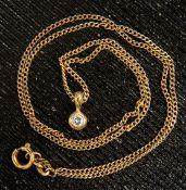 Zarte 585er Gelbgold-Halskette mit rundem Anhänger mit Brillantsplittern besetz