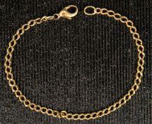 Glieder-Armkette mit Karabinerverschluss, 585er Gelbgold, Länge ca. 19,5 cm, ca