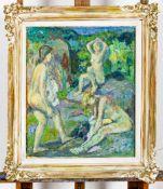 """""""Nach dem Bade"""" - Gemälde, Öl auf Hartfaserplatte, ca. 54 x 46 cm, Ritzsignatur"""