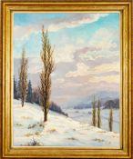 """""""Winterlandschaft"""", Gemälde, Öl auf Spanplatte, ca. 120 x 97 cm, signiert unten"""