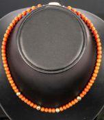 Elegante Korallen-Halskette mit 750er Gelbgold-Sicherheitsverschluss, Länge ca.