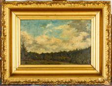 """""""Waldrand mit hohem Himmel"""" - Landschaftsgemälde, Öl auf Leinwand, ca. 21 x 33"""