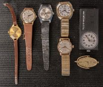 7teiliges Konvolut versch. Uhren, bestehend aus: 5 Armbanduhren, 1 Kettenanhäng
