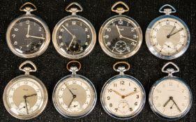8teiliges Konvolut versch. offener Herrentaschenuhren, alle Gehäuse in Silber;