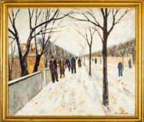 """""""Winterliche Straßenszene"""". Gemälde, Öl auf Leinwand, ca. 50 x 62 cm, unten rec"""