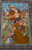 Isfahan Bild-Teppich, Iran, ca. 73 x 100 cm, hing jahrelang an der Wand, rückse