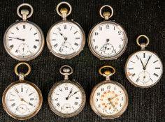 7teiliges Konvolut versch. offener Herrentaschenuhren, überwiegend silberne Geh