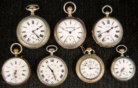 7teiliges Konvolut versch. alter/ antiker offener Herrentaschenuhren, zwischen