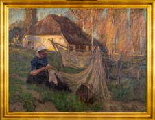 """""""Die Netzflickerin"""" - großformatiges Gemälde, um 1900, Öl auf Leinwand, ca. 72"""
