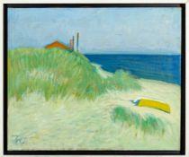 """Strandszene"", Gemälde des PAUL BAAK (1912 - 1994), Öl auf Leinwand, ca. 50 x 6"