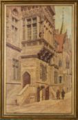 """Altstadt Straßenszene"", Breslau ?, Gemälde, Öl auf Hartfaserplatte, ca. 38 x 2"