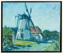 """""""Windmühle"""", Gemälde des Paul Baak (1912 - 1994) von 1989, ca. 50 x 60 cm, Scha"""