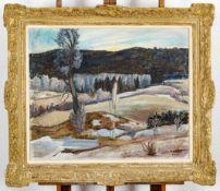 """""""Winterliche Landschaft"""" - Gemälde, Öl auf Leinwand, ca. 66 x 82 cm, unten rech"""