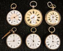 6teiliges Konvolut versch. offener Herrentaschenuhren, überwiegend vor/ um 1900