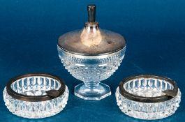 3teiliges Kristallglas-Konvolut mit 925er Sterlingsilbermonturen, bestehend aus