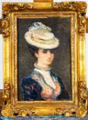 """""""Elegante junge Dame mit Hut"""", Gemälde Öl auf Nadelholzplatte, unten rechts sig"""