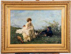 """""""Sommerliche Rast mit Mops"""", Gemälde Öl auf Leinwand, ca. 64 x 91 cm; unten rec"""