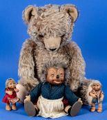 4teilige Kuscheltier-Sammlung bestehend aus 3 versch. STEIFF - MECKI'S (Höhen ca. 12 bis 27 cm) sow