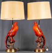 """Paar hochdekorativer Tischlampen mit """"Roter Fasan""""-Figuren, Italien, Mitte 20. Jhdt., schlichte Mes"""