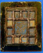 Antike russische 13-Felder-Ikone, leicht gebogene Holztafel mit insgesamt 13 eingesetzten, teilweis