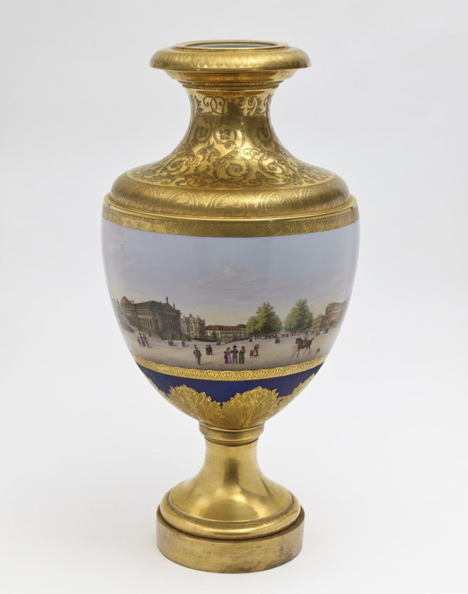"""A panoramic vase with a prospect of the street """"Unter den Linden"""" in Berlin"""