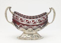 An oval crystal bowl