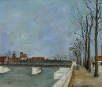 Le pont de la gare (Straße zum Bahnhof in Caen). 1898