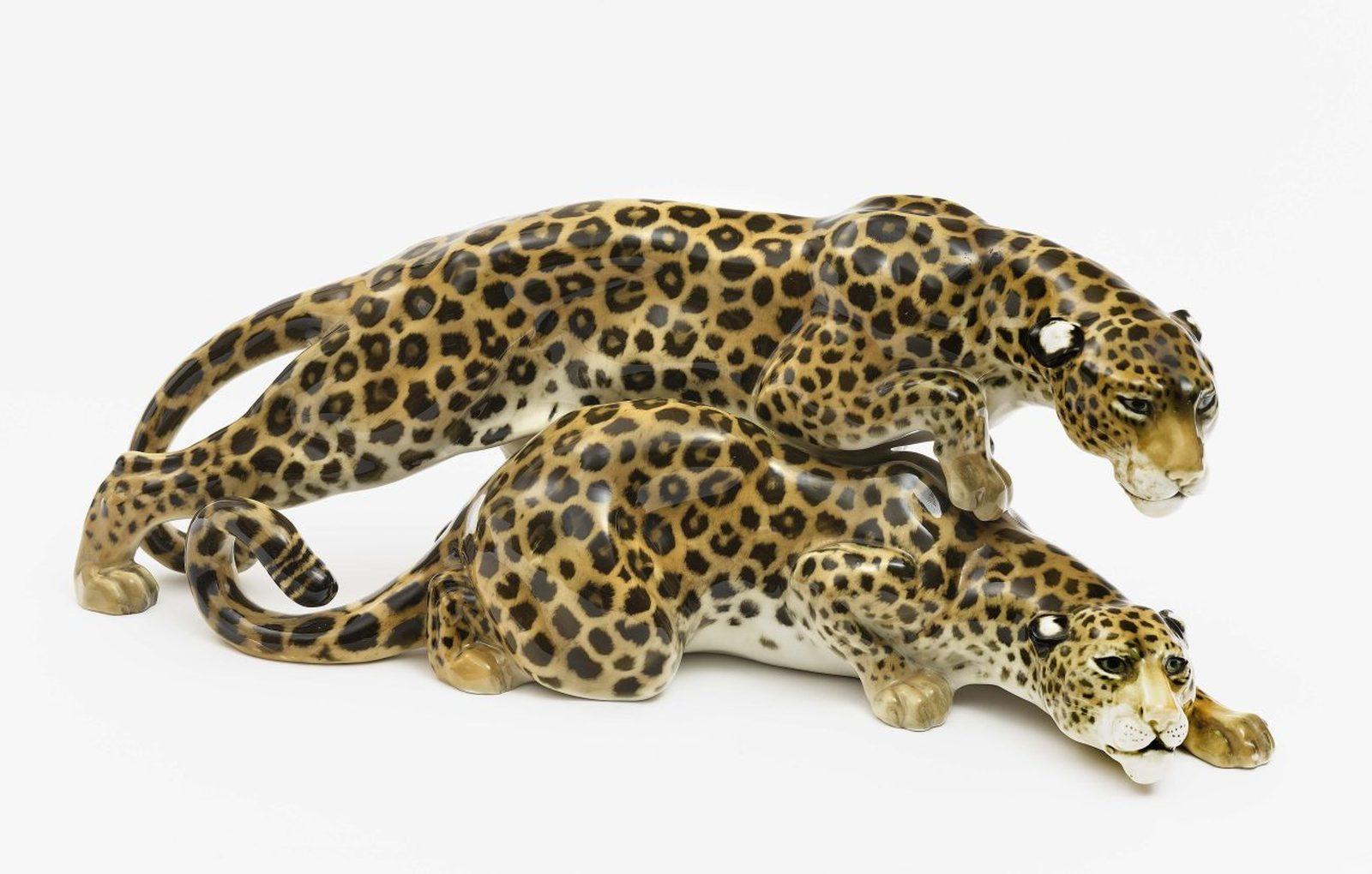 Zwei spielende Panther