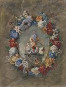 Blütenkranz mit Darstellung eines Chinesen mit Stab und Porzellangefäßen