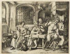 Dietrich, Christian Wilhelm Ernst. 1712 Weimar - Dresden 1774 Der Satyr beim Bauern. Radierung. In d