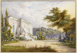 Hintze, Heinrich. 1800 Berlin - Hamburg 1861 Kleines Schloss in einem sommerlichen Park. Aquarell üb