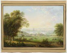 Deutsch, 19. Jh. Sommerliche Landschaft mit einer Kleinstadt an einem See. Gouache. 18,5 x 27 cm.