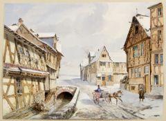 Scharold, Carl. 1811 - Würzburg - 1865 Kutsche in einer verschneiten Kleinstadt. Gouache über Bleist