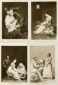 Goya Caprichoa. 10 Heliogravuren nach den Radierungen. Bis 21,5 x 15 cm.