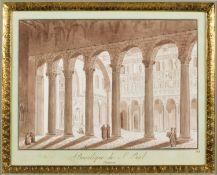 Uggeri, Angelo. 1754 - 1837. Zugeschrieben Basilique de S. Paul Interieur. Braun lavierte Tuschfeder