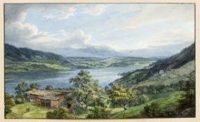 Monogrammist J.K. Sommerlicher See mit einem Bergbauernhof im Vordergrund. Aquarell. Monogr. und dat