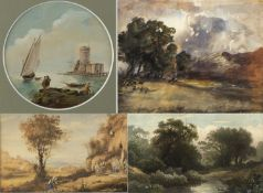 Unbekannt Landschaften. Schiffe u.a. 7 Aquarelle. Bis 20 x 31,5 cm.