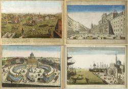 Guckkastenblätter, 18. Jh. Entrée de la Ville de Venise. L'Escurial. Palais Quirinal. St. Petri cum