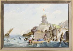 Scharold, Carl. 1811 - Würzburg - 1865 Militärischer Wachturm an der Küste. Gouache über Bleistift.