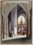 Scharold, Carl. 1811 - Würzburg - 1865 Innenansicht einer gotischen Kirche. Gouache über Tuschfeder