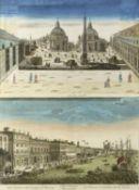 Guckkastenblätter, wohl 18. Jh. Ansichten von Rom und Paris. 2 kol. Radierungen. Bis 39 x 56 cm. Das