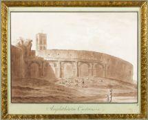 Uggeri, Angelo. 1754 - 1837. Zugeschrieben Amphithéatre Castrense. Braun lavierte Tuschfederzeichn.