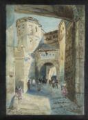 Voltz, Friedrich. 1817 Nördlingen - München 1886 Belebte Straße in der Altstadt von Segovia. Aquarel
