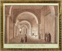 Uggeri, Angelo. 1754 - 1837. Zugeschrieben Vestibule de l'Eglise de S. Sabine. Braun lavierte Tuschf