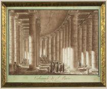 Uggeri, Angelo. 1754 - 1837. Zugeschrieben Colonnade de S. Pierre. Braun lavierte Tuschfederzeichn.
