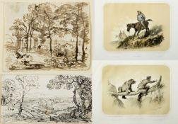 Kobell, Franz Innocenz Josef. 1749 Mannheim - München 1822 Landschaften. 5 Tuschzeichn. 1 Radierung.